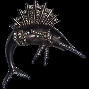 Vintage Rare Art Deco Era 40's Sterling Silver Rhinestone Gold Gilt Swordfish Pin Brooch