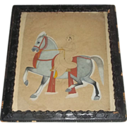 Antique Painting India Indian Rare War Warrior on Horseback  Bamboo Paper War Rajasthani 18th century
