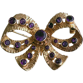 Vintage 1960s Amethyst and 9ct.Gold Bow Style Brooch