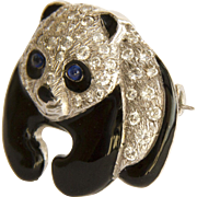 Vintage, 1980s, 18ct. Gold, Diamond Set, Enamel, Panda Brooch with Sapphire Eyes