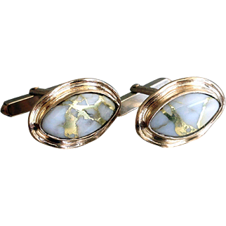 Vintage 1960s   Gold Veined Quartz. 9ct. Gold Cuff- Links
