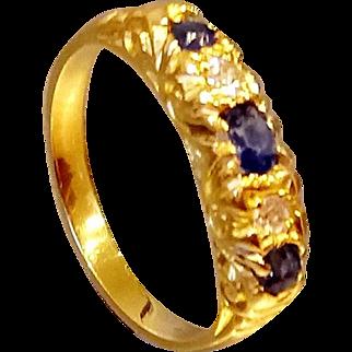 18ct Yellow Gold Sapphire & Diamond 5 Stone Ring - Circa 1917