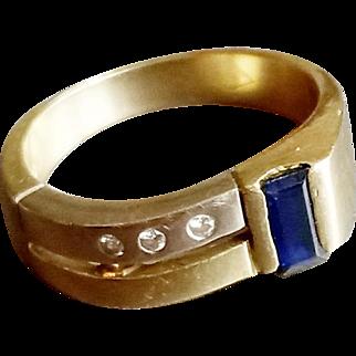14ct Retro Style Sapphire & Diamond 2 colour gold ring - 1970's