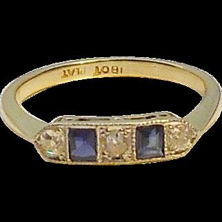 Fabulous 18ct Art Deco Sapphire & Diamond Ring - Circa 1925