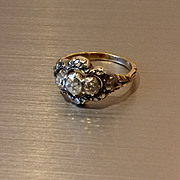 18ct and Silver Victorian Rose cut Diamond 3 Stone Ring