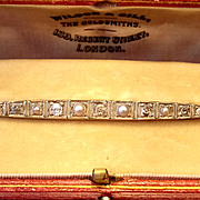 Edwardian 15th and Platinum Diamond and Pearl Bar Brooch - Circa 1905