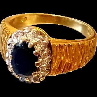 18ct Retro Sapphire and Diamond Cluster Ring