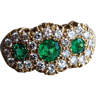 Vintage Triple Emerald and Diamond 18ct. Gold Ring