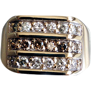 Vintage 9ct. Gold Diamond Set Signet Ring