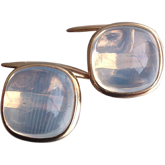 Vintage 1970s, Moonstone Cuff-links set in 9ct. gold.