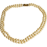 Vintage Cultured Pearl Necklace with 9ct. Gold and Diamond Clasp