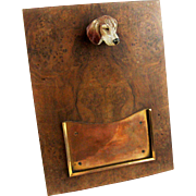 Asprey Antique Vienna Bronze Dog, Plaque, Photo Frame