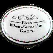 Battersea Bilston English Enamel Patch Box – Loves the Gain – c 1780