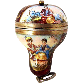 Vinaigrette Viennese Enamel Figural Hot Air Balloon Form Pendant – C 1880