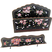 Antique Chinese Cloisonne Letter Rack and Pen Holder