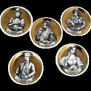 Vintage Opera Fornasetti 5 Gold Coasters – Melodramma