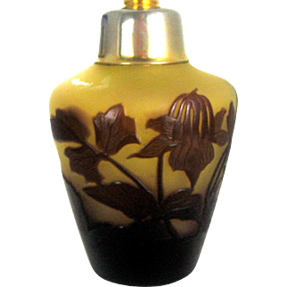 French Gallé Cameo Art Glass Scent Perfume Bottle – circa 1910