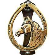 Antiques Brass Horse in Horseshoe Doorknocker