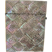 Victorian Mother of Pearl Calling Card Case Floral