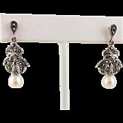 Marcasite Fresh Water Pearl Sterling Silver Drop Earrings Pierced