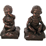 Antique KBW Rain & Sunshine Children Bronze Clad Bookends