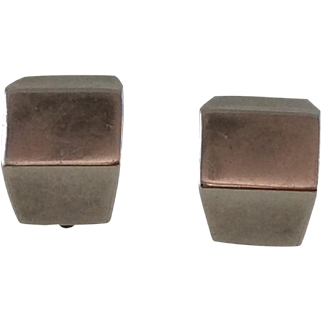 Vintage Mexican Sterling Silver Earrings Geometric
