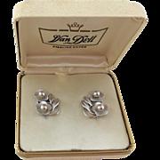 Vintage Sterling Silver Flower Screw Earrings - Van Dell