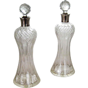English Sterling Silver Crystal Thistle Decanter c. 1910