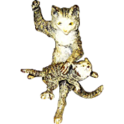 Antique Vienna Bronze Mother Cat Spanking Kitten