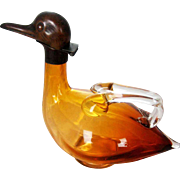 Austrian Amber Glass Figural Duck Decanter – c 1920