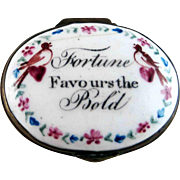 Battersea Bilston Enamel – Fortune Favours the Bold – Patch Box C 1780