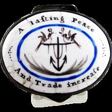 Battersea Bilston Enamel – American British Interest - Peace Trade – Box C 1780