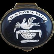 Battersea Bilston English Enamel Patch Box – Souvenir Ivanhoe Baths – c 1825