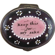 Battersea Bilston Enamel – Keep for My Sake – Motto Patch Box - C 1790