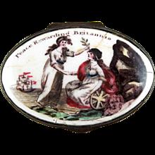 Battersea Bilston English Enamel – Peace Rewarding Britannia – Patch Box – c 1780