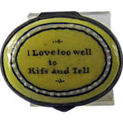 Battersea Bilston Yellow Patch Box - Love Motto – I Love to well to Kiss and Tell -  c 1780