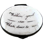 Battersea Bilston English Enamel Patch Box – Dear To Me – c 1780