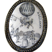Antique Battersea Bilston Enamel - Hot Air Balloon Ascension Cloak Pin