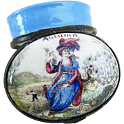 Battersea Bilston Enamel – AUTUMN Seasons – Patch Box C 1780