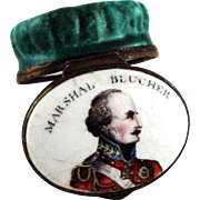Battersea Enamel Marshal Blucher Patch Box – c 1815 - Battle Waterloo
