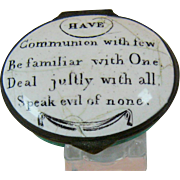 Battersea Bilston Enamel –Deal Justly – Motto Patch Box C 1780