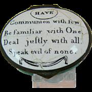 Battersea Bilston Enamel –Deal Justly – Motto Patch Box C 1780