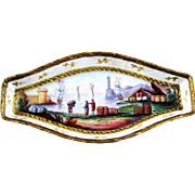 Small Battersea Enamel Tray – Ships Harbour Scene -  c 1820.