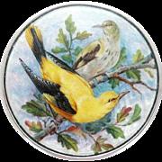 Enamel & Sterling Silver Compact – Birds – c 1927