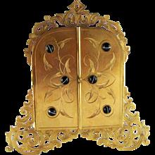 Antique Bulls Eye Agate Dore Bronze Gate Photo Picture Frame – c 1880