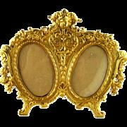 Large Dore Bronze Cherub Frame - Double Picture Photo - c 1900