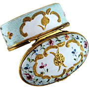 Battersea Bilston Enamel Gingham Patch Snuff Box c 1780