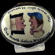 Battersea Bilston Enamel – Marriage Before After - Patch Box C 1780
