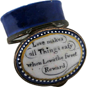 Battersea Bilston Enamel –Loves Sweet Reward – Motto Patch Box C 1800