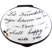 Battersea Bilston English Enamel – Friendship Reign – Motto Patch Box – c 1780